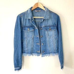 Highway Jeans Denim Jacket Cropped Raw Hem Fringe